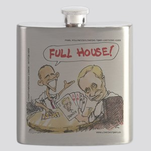 Putin And Obama Poker Flask