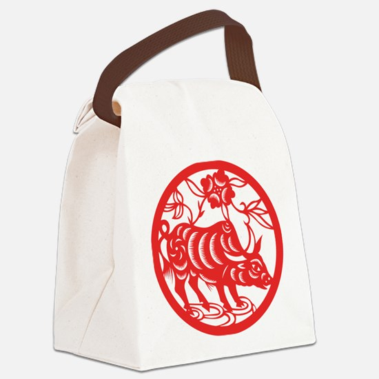 Zodiac, Year of the Ox Canvas Lunch Bag