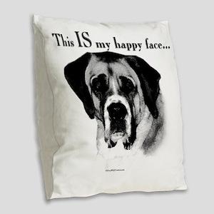 Saint Bernard Happy Face Burlap Throw Pillow