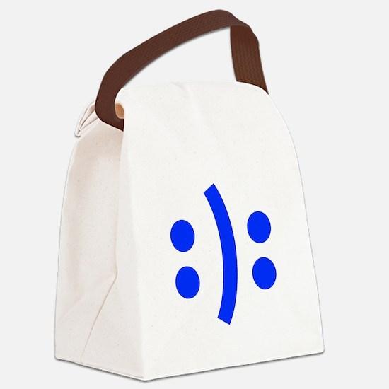 BIPOLAR-SMILEY-fut-blue Canvas Lunch Bag