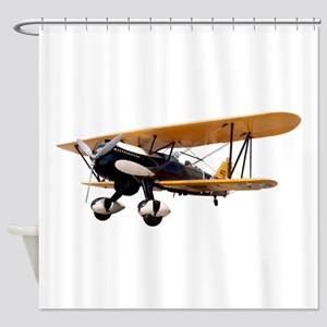 P-6 Hawk Biplane Aircraft Shower Curtain