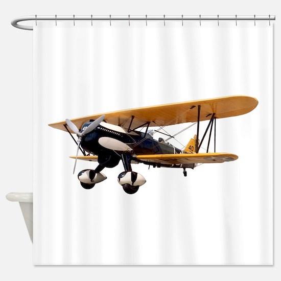 P-6 Hawk Biplane Aircraft Shower Curtain