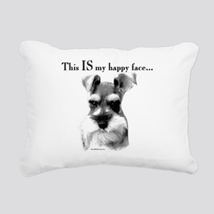 Schnauzer Happy Face Rectangular Canvas Pillow
