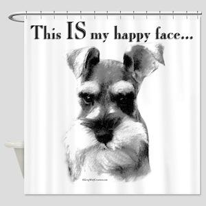 Schnauzer Happy Face Shower Curtain
