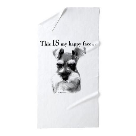 Schnauzer Happy Face Beach Towel