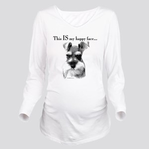 Schnauzer Happy Face Long Sleeve Maternity T-Shirt