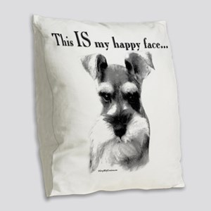 Schnauzer Happy Face Burlap Throw Pillow