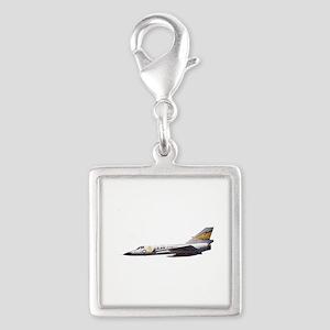 F-106 Delta Dagger Fighter Silver Square Charm