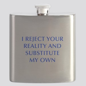 I-REJECT-YOUR-REALITY-OPT-BLUE Flask