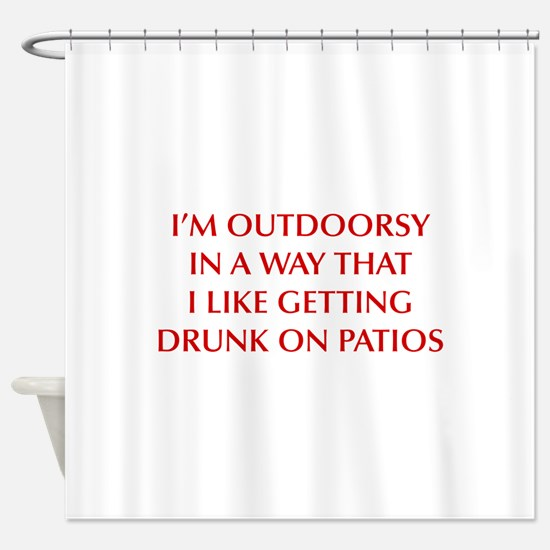 IM-OUTDOORSY-OPT-DARK-RED Shower Curtain