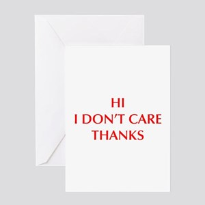 Dont care greeting cards cafepress hi i dont care opt red greeting cards m4hsunfo