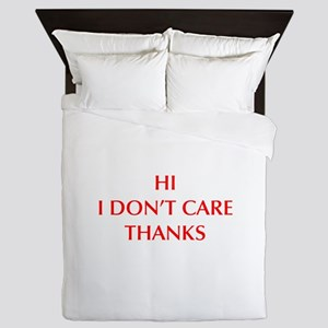 HI-I-DONT-CARE-OPT-RED Queen Duvet
