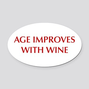 AGE-IMPROVES-OPT-DARK-RED Oval Car Magnet
