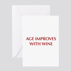 AGE-IMPROVES-OPT-DARK-RED Greeting Cards