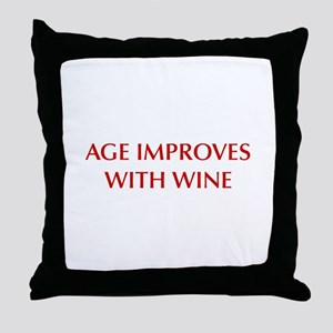 AGE-IMPROVES-OPT-DARK-RED Throw Pillow