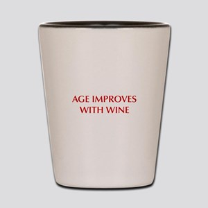 AGE-IMPROVES-OPT-DARK-RED Shot Glass