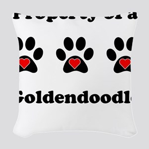 Property Of A Goldendoodle Woven Throw Pillow
