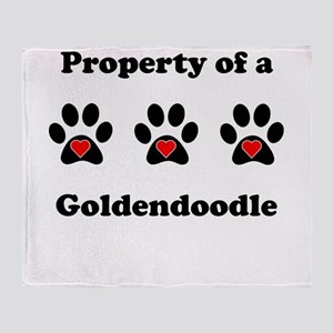 Property Of A Goldendoodle Throw Blanket