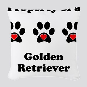 Property Of A Golden Retriever Woven Throw Pillow