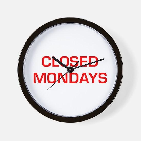 CLOSED-MONDAYS-EURO-RED Wall Clock