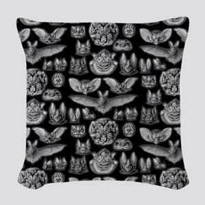 Vintage Bat Illustrations Woven Throw Pillow