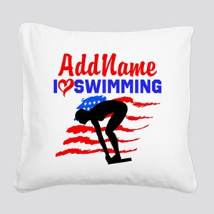 SWIMMER GIRL Square Canvas Pillow