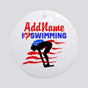 SWIMMER GIRL Ornament (Round)
