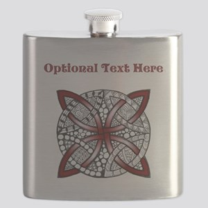 Personalizable Maroon Decorative Celtic Knot Flask