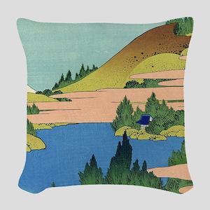 Hokusai Lake Hakone Woven Throw Pillow