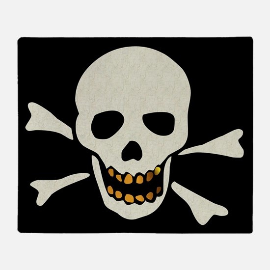 Skull With Gold Teeth Throw Blanket