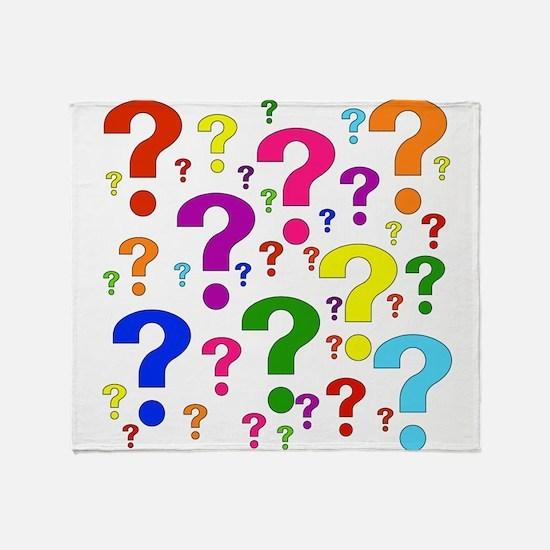 Rainbow Question Marks Throw Blanket