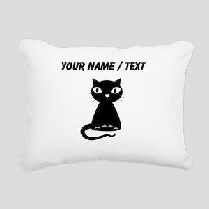 Custom Cartoon Black Cat Rectangular Canvas Pillow