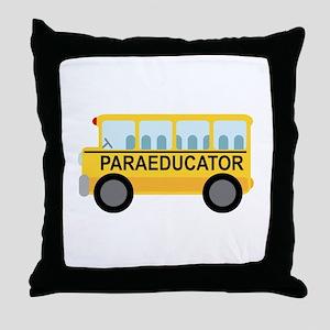Paraeducator School Bus Throw Pillow