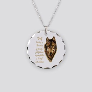 Wolf Totem Animal Spirit Necklace Circle Charm