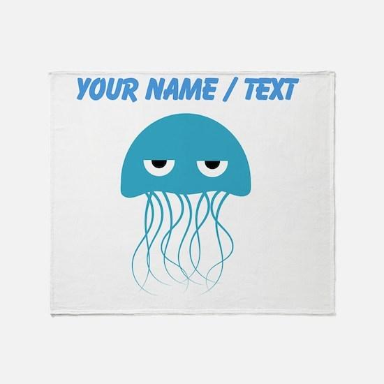 Custom Light Blue Jellyfish Throw Blanket