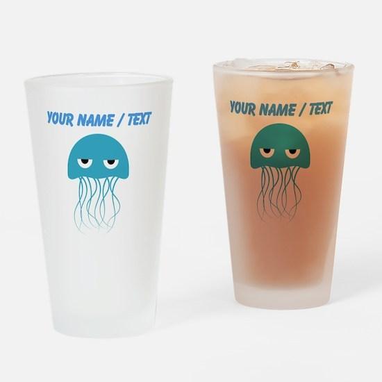 Custom Light Blue Jellyfish Drinking Glass