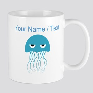Custom Light Blue Jellyfish Mugs