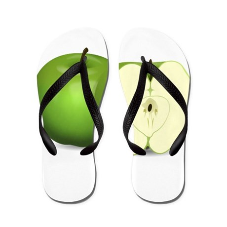 Sliced Green Apple Flip Flops
