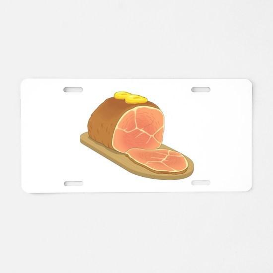 Sliced Ham Aluminum License Plate