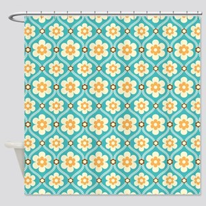 Turquoise Gold Floral Shower Curtain