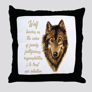 Wolf Totem Animal Spirit Guide for In Throw Pillow