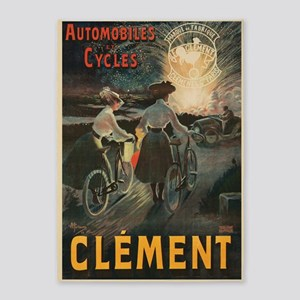 Clement, Bicycle, Vintage Poster 5'x7'Area Rug