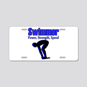NUMBER 1 SWIMMER Aluminum License Plate