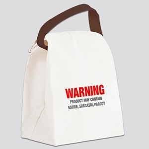 warning-sarcasm-HEL-RED-GRAY Canvas Lunch Bag