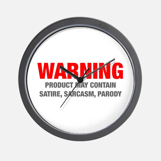 warning-sarcasm-HEL-RED-GRAY Wall Clock