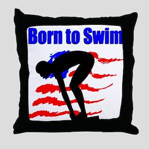 BORN TO SWIM Throw Pillow