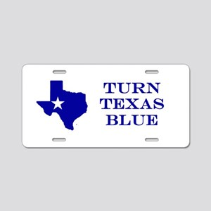 Turn Texas Blue Stkr Aluminum License Plate