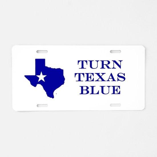 Turn Texas Blue Stkr Aluminum License Plate