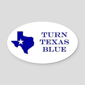 Turn Texas Blue Stkr Oval Car Magnet