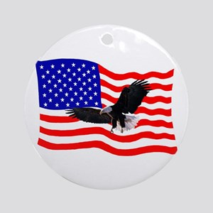 EAGLE ON AMERICAN FLAG Ornament (Round)